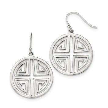 925 Sterling Silver Chinese Symbol Dangle Earrings