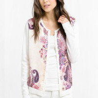 White Digital Printed Long Sleeve Knit Cardigan