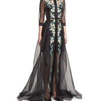 Floral-Embroidered Tulle Trench Gown, Black