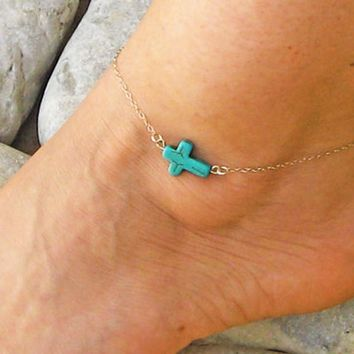 Gift Sexy Ladies Cute Jewelry New Arrival Shiny Turquoise Stylish Blue Cross Rack Anklet [11156946708]
