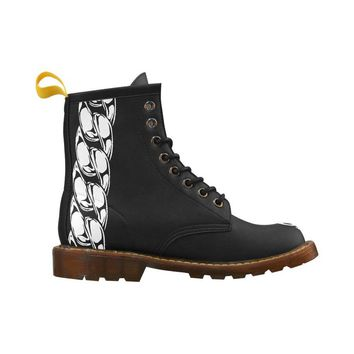 NFA Mens Black Chain Lion Combat Boots