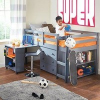 Caden Grey Kid's Furniture Set with Twin Loft Bed, Desk, Dresser & Bookcase in One