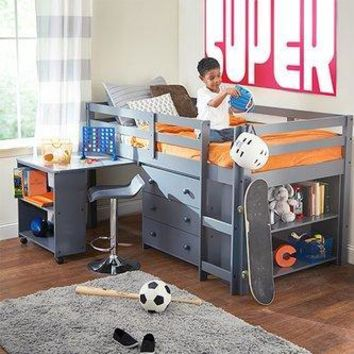 Caden Grey Kid S Furniture Set With Twin Loft Bed Desk Dresser Bookcase In