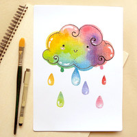 "Rainbow Cloud Raindrops Illustration 8x10"" Inch Print- Cute & Kawaii Whimsical Watercolor Spring Showers Art Print - Nursery Wall Art"