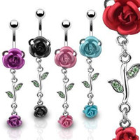 """Double Black Metal Rose Belly Ring with Cz Vine - 14g - 3/8"""" Bar Length - Sold Individually"""