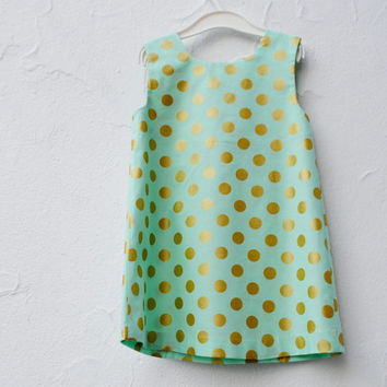 Metallic Gold and Mint Dress with Polka Dots- Summer Dress- Modern Baby Toddler Girls Dress (Custom 12 months 2T 3T 4T)