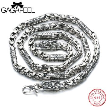 GAGAFEEL Punk Chain Necklace Men Jewelry Choker Necklaces Thai Silver Genuine 925 Sterling Silver Dragon Head Pattern Bijoux