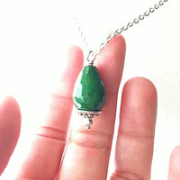 Deep Green Faceted Agate Drop Pendant Silver Necklace