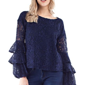 Crochet Blouse with Triple Bell Sleeves