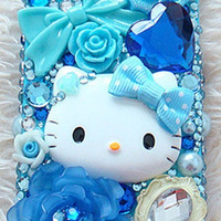 Cute Blue Hello Kitty Deco iPhone Samsung by AnnasPhoneCases
