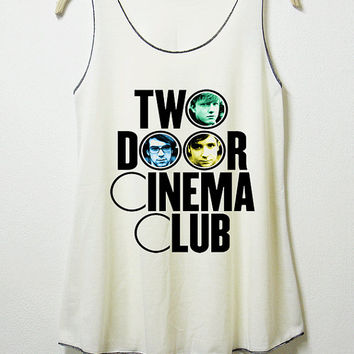Two door cinema club, women tank top, off white shirt, screenprint, tunic, clothing tshirt, lady shirt, graphic tee