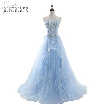 Babyonline Romantic Sky Blue Sweetheart Long Prom Dresses 2017 Beaded Lace Applique Formal Evening Dresses Party Dress