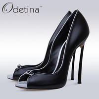 Odetina 2017 Fashion Sexy Peep Toe Pumps Super High Stiletto Heels Slip On Party Shoes Dress Pumps Wedding Shoes White Thin Heel