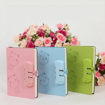Diary with lock filofax kawaii agenda lock journal
