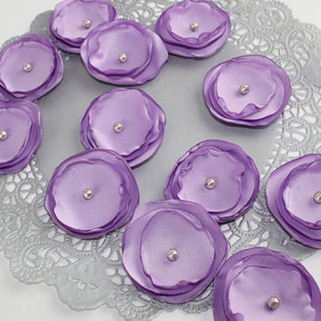 Satin Sew On Flower Applique Hand Made Wedding Table Decor Bridal Supply, Lavender Sparkle (set of 12) DZ101