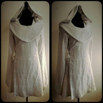 MADE TO order: white  linen Star Wars inspired Jedi robe,dress,with hood, costume cosplay larp  pixie SF bridal wedding