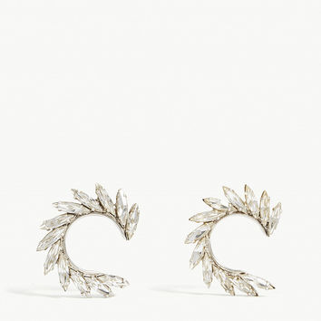 SAINT LAURENT Spiral crystal earrings