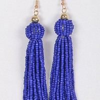 Lovely Tassel Beaded Earring, Cobalt