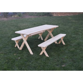 "A & L Furniture Co. Pressure Treated Pine 4' Cross-leg Table w/2 Benches - Specify for FREE 2"" Umbrella Hole  - Ships FREE in 5-7 Business days"