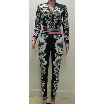 Long Sleeve Flower Print Suit Set