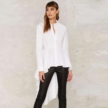 Long sleeve white peplum shirts with ruffle hem women button down high low tops long ladies vintage fishtail blouses for work