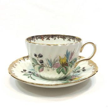 Summer Flowers Tea Cup & Saucer, Aynsley English Bone China, Blackberries, Swirled Ribbed, Floral Gilding, Shabby Chic Decor, 1950s Vintage