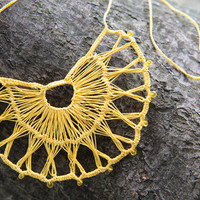 Broken Wheel Necklace with Swarovski Crystals, Lace Crochet, Available in Custom Colors