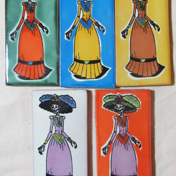 5 Talavera Mexican Tile Mosaic Day of the Dead 2x4 Tiles Clay Catrina Tile Craft Mural
