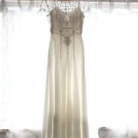 Jenny Parkham Inspired Vintage Chiffon Beaded Beading Crystals Wedding Dress Bridal Gown A LINE Cap Sleeves Open Back Dress