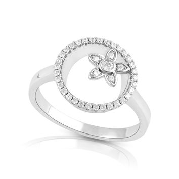 Sterling Silver Simulated Diamond Sunshine Flower Ring