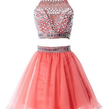 Babyonline Two Pieces Coral Homecoming dress ,Rhinestones Halter Short Prom Gown