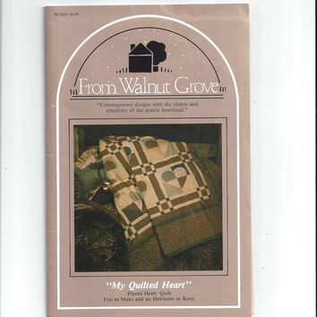 Walnut Grove Pattern for My Quilted Heart, Pieced Heart Quilt, FACTORY FOLDED, UNCUT, From 1990s, Vintage Pattern, Home Sewing Crafts