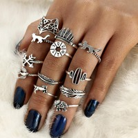 WLP punk ring set Vintage 12 pcs/ set Cactus Elephant Fox Rings Set Bohemia Hollow Bird Lion Shape Carved Midi Finger Rings