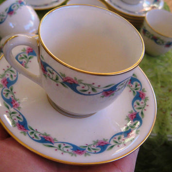 1940s Lenox Bellefonte Demitasse Teacup and Saucer Mint 8 available
