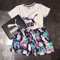 """""""PUMA"""" Fashion Casual  Letter Floral Print Short Sleeve Sweater Set Two-Piece Sportswear"""
