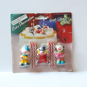 CLOWN BIRTHDAY CANDLES, Vintage Cake decorations, vintage birthday candles, clown birthday theme,candles for birthday cake,candles for child