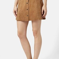 Women's Topshop Suede A-Line Skirt
