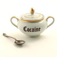 Redesigned Cocaine Sugar Pot Porcelain Handles Drug Vintage Halloween White Brown Fun Funny