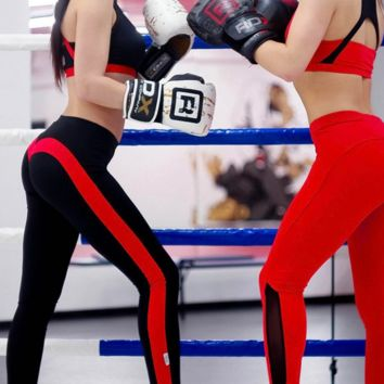 Fashion black red splicing color Sports running exercise Fitness trousers Leggings pants Sweatpants