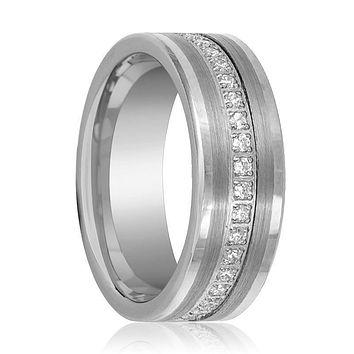 Flat Tungsten Eternity Wedding Ring for Men with Cubic Zirconia in Brushed Center - 8MM