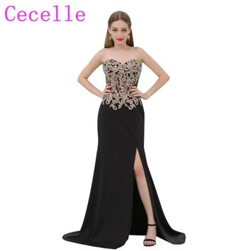 2018 New Sheath Long Black and Gold Prom Dress With Sweetheart Neckline Sheer Bodice Side Split Sexy Prom Party Dress Custom