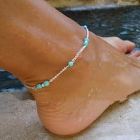 Turquoise Beads Silver Chain Anklet Silver Plated Ankle Bracelet Foot Jewelry