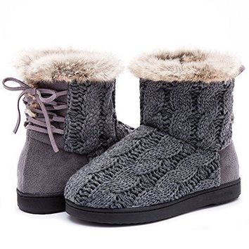 Womens Soft Yarn Cable Knit Bootie Slippers Memory Foam Indoor amp Outdoor Shoes wAdjustable Suede Lace