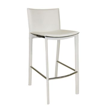 Panca Bar Stool White Bonded Leather Steel Frame