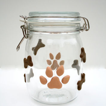 Dog Treat Jar, Glass with Polymer Clay paw prints and Dog Bones, Brown Color