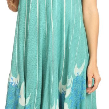 Sakkas Ecrin Women Tie-dye Sleeveless Stonewashed Caftan Cover up Dress Flowy