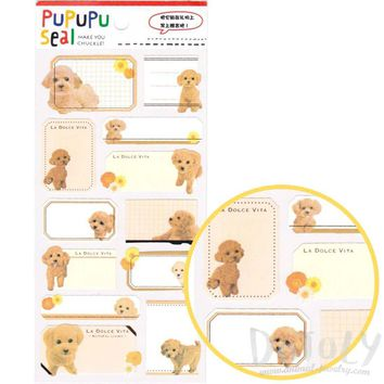 Toy Poodle Puppy Dog Glossy Photo Label Index Stickers for Scrapbooks and Card Making
