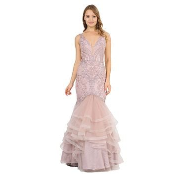 V-Neck Long Mermaid Tiered Prom Dress Mauve