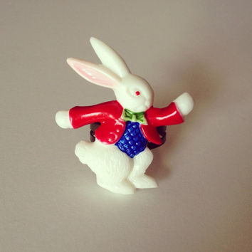 White Rabbit Red Jacket Ring by RabbitJewellery on Etsy