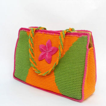 """PDF pattern """"FLOR del VALLE"""" small handbag in tunisian technique with a macrame flower"""